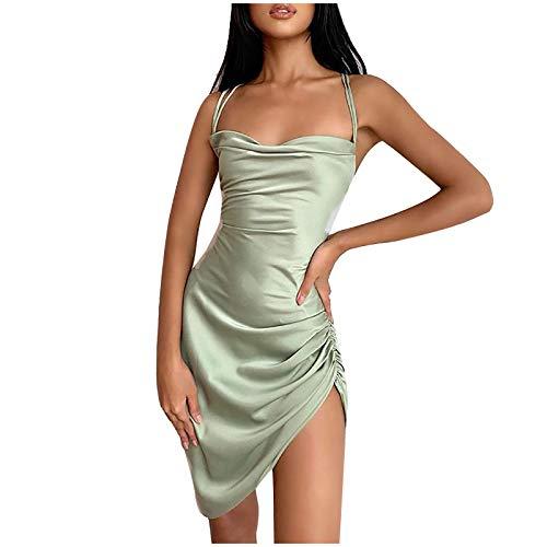 Hanomes Kleider Damen Minikleider Elegant Abendkleider Rückenfreies Bodycon Kleid Spaghetti Strap Stretchy Partykleider Schlinge Einfarbiges sexy Kleid Cocktailkleid