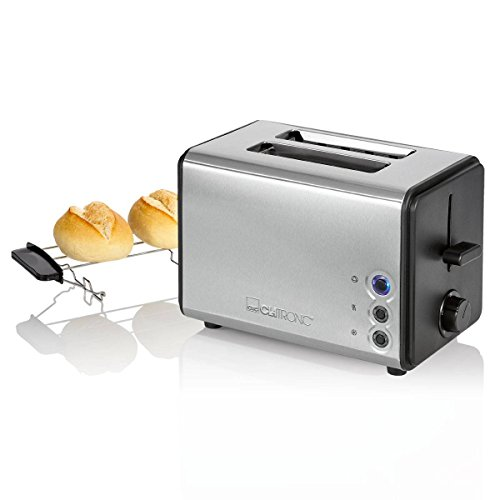 Clatronic TA 3620 Automatische broodrooster, roestvrijstalen behuizing, 850 W, afneembaar opzetstuk voor broodjes, roestvrij staal