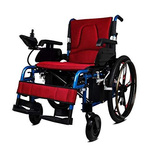 L-YINGZON Silla de Ruedas eléctrica Filipinas Precio Power Motor Remoto Reclinable RECLINIZADO Silla de Ruedas (Color : Red)