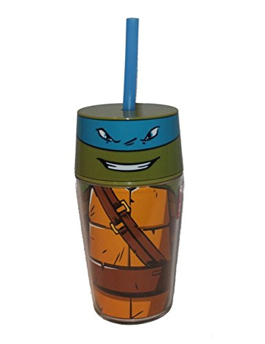 zak Designs tntr-r053 Turtles Neue Serie Leo doppelwandig Icon Tumbler, 14 oz, multicolor