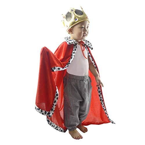 STOBOK Kinder König Leistung Mantel und Krone für Kinder Halloween Cosplay Kostüm