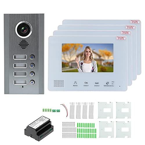 Timbre con video, bajo consumo de energía Teléfono de puerta antirrobo flexible Intercomunicador manos libres TFT LCD a color de 7 pulgadas para intercomunicadores de entrada de puerta