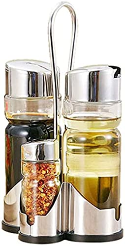 Amas De Casa Sal Y Pimienta, Aceite Y Vinagre, Cuatro Distribuidores De Vinagre De Aceite En Shakers De Pimienta Y Conjunto De Cuchara De Vidrio Sal