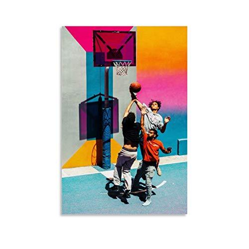 JIELAI Póster de baloncesto decorativo, lienzo para pared, sala de estar, póster para dormitorio, 40 x 60 cm