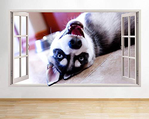 LHHYY Pegatinas dePared Pegatinas de pared cachorro perro lindo guardería ventana calcomanía 3D arte vinilo habitación C203