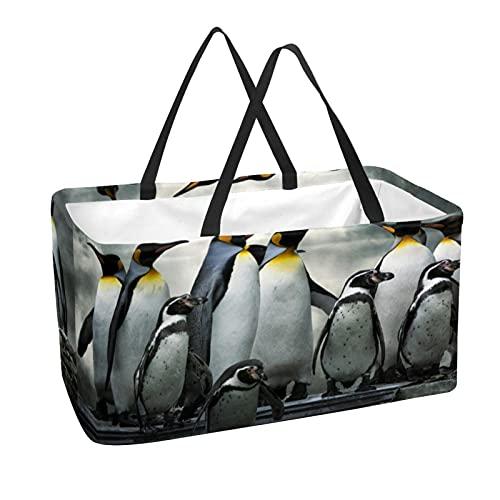 Bolsa de comestibles reutilizable grande, resistente bolsa de compras con parte inferior reforzada y asa (impresión animal de pingüino)