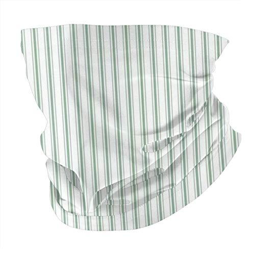 Decams Bandana máscara facial colchón con rayas estrechas en verde musgo y blanco, pasamontañas al aire libre, a prueba de polvo, resistente al viento, multifuncional, para hombres y mujeres