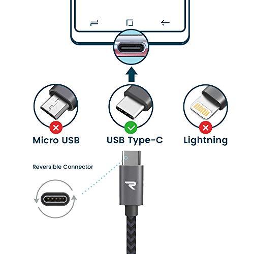 USB C Kabel, RAMPOW Typ C Ladekabel, 1M, SuperSpeed USB 3.0 Datenkabel und QC 3.0 Schnellladekabel Nylon Geflochten Kompatibel für Samsung Galaxy S10/S9/S8, Huawei P30/P20, Sony Xperia XZ