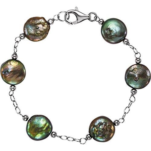 Pulsera de perlas cultivadas en agua dulce con moneda 7,5 en 12 13 mm joyas regalos para mujeres