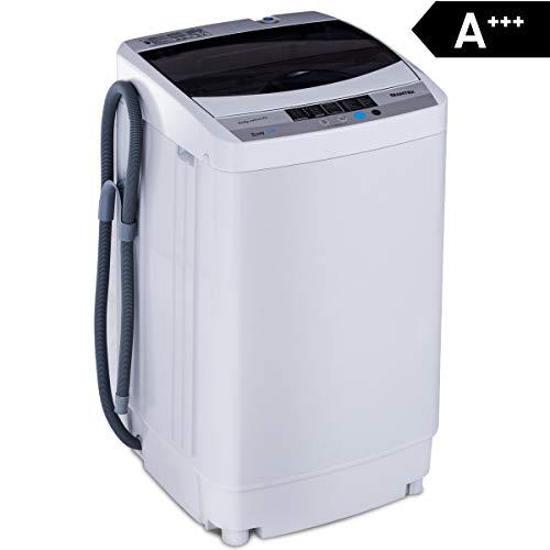 COSTWAY Waschmaschine, Waschvollautomat, Toplader, Mini Waschmaschine mit Pump, Schleuder, Display / 4,5kg / 250W-310W / 50×50×85cm / A+++