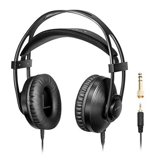 Zwbfu by-HP2 Auriculares con Monitor de vídeo Profesional Sonido de Alta fidelidad Piel de proteína Suave Almohadillas para los oídos con Salida estéreo de 3,5 mm y 6,35 mm para cámara DJ Broadcast