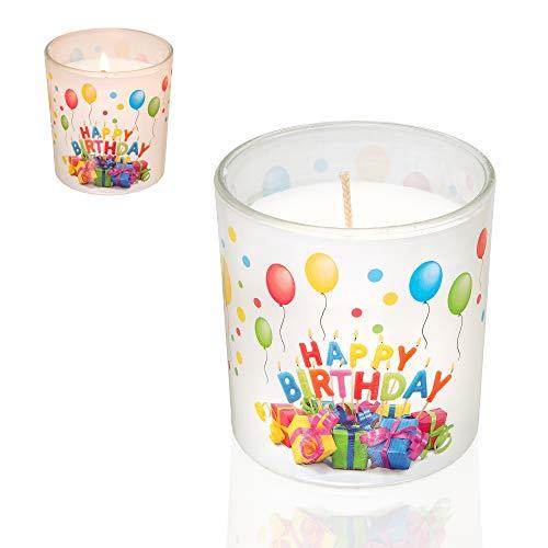 Smart Planet® Happy Birthday Kerze im Glas - Geburtstagskerze mit schönem Geschenke Motiv - Geschenk Idee zum Geburtstag - Deko Kerzen