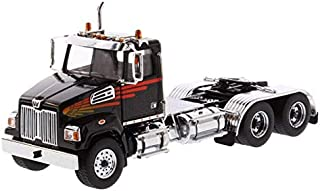Diecast Masters Western Star 4700 SF Tandem Day Cab Tractor Metallic Black 1/50 Diecast Model