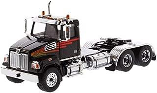Diecast Masters Western Star 4700 SF Tandem Day Cab Tractor Metallic Black 1/50 Diecast Model