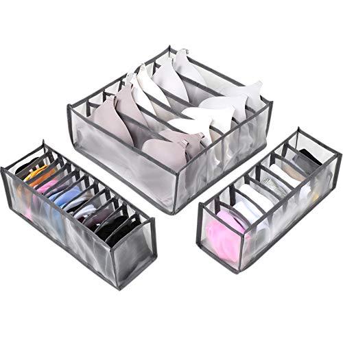 Everpertuk - Organizador para cajones para ropa interior de 3 piezas, organizador para cajones con separación plegable para sujetador, calcetines, corbatas y bufandas 6+7+11 Compartments