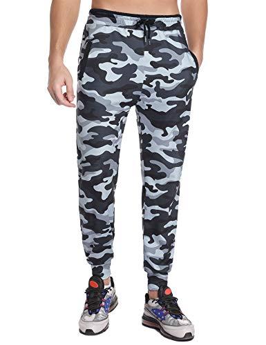 Akalnny Jogginghose Herren Trainingshose Baumwolle Sporthose mit Gummizug und Taschen Weiß+schwarz XL