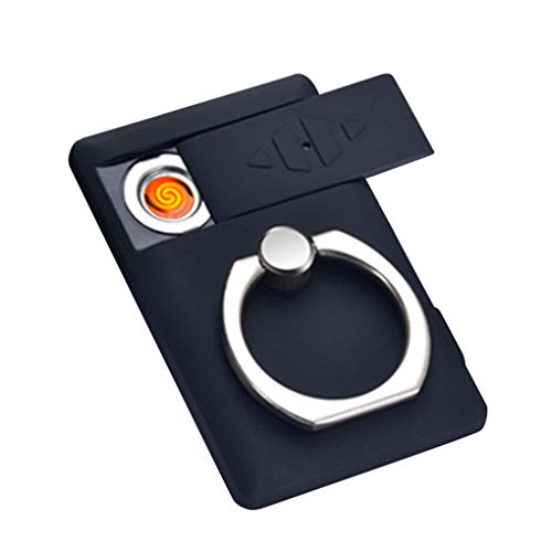 Skxinn Multifunktions USB Lade Windproof Handy Ring Bracket Feuerzeug Zigarettenanzünder Ausverkauf(Schwarz,One Size)