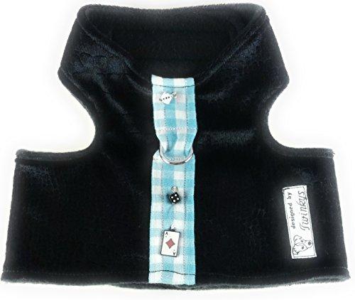 Twinkys Dog Style honden softservies borsttuig M zwart fluwelen tiek met dobbelstenen en speelkaart halsomtrek 28 cm -33 cm borstomvang 43 cm - 47 cm totale lengte rug 13 cm
