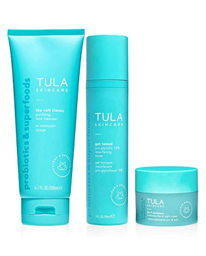 TULA Skin Care 3 Step Balanced Skin Kit   Face Wash, Toner and Face Moisturizer to Achieve Balanced, Glowing and Hydrated Skin