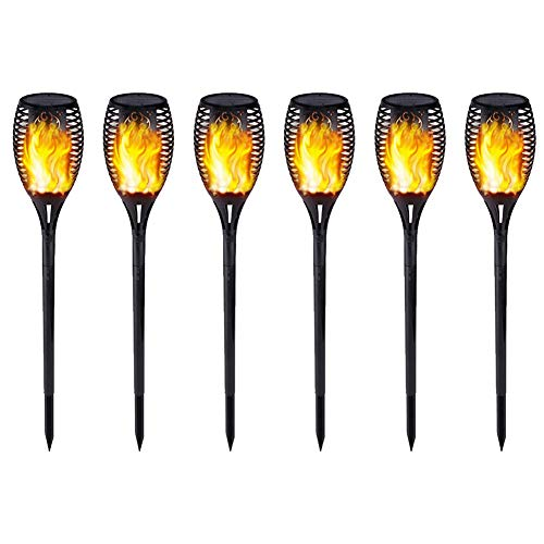 6xFlame Effect Garden Solar Lights, 12 LED Sloar Powered Torch Lights Home Decoration Auto On/Off Security Lighting für Party Garden Patio Pathway, Flickering Dance Flame Waterproof Yard Decor Lights