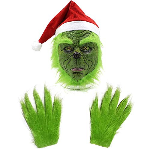 Donsane Christmas Mask and Gloves Costume Props Scary Mask Latex Full Head Adult Masks Santa hat mask Green, Large
