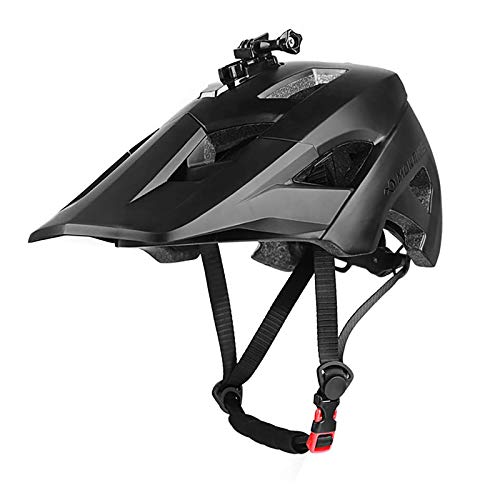 MOKFIRE Mountain Bike Helmet - Detachable Super Long Sun Visor with USB Safety Light & Camera Mount for MTB Adults Cycling Bicycle Helmet for Women and Men - Size (22.44-24.01 Inches) - Black