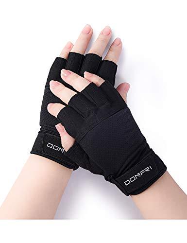 Donfri 1 Paar Fahrradhandschuhe, Rutschhemmende Mountainbikehandschuhe, Fingerlose Handschuhe, Sporthandschuhe, MTB Handschuhe, für Männer und Frauen, Größe (M)