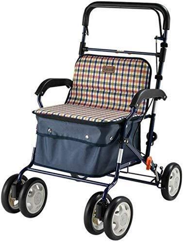 BXU-BG - Carrito de compras para sillas de ruedas, de aluminio, para personas mayores, carretilla, caminante, cuatro ruedas, ligera y cómoda, silla plegable, adecuada para Elde