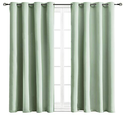 WONTEX Blackout Curtains Room Darkening Thermal Insulated with Grommet for Living Room, 52 x 63 inch, Light Green, 2 Curtain Panels
