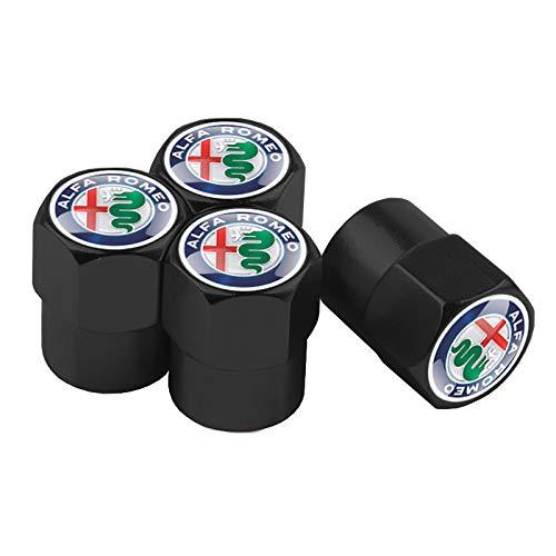 Tapas de válvula de neumático, 4 unidades, para válvula de neumático de coche, tapas de aluminio para válvula de neumático, tapas de aluminio (nombre del color: negro)