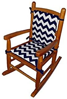 Baby Doll Chevron Junior Rocking Chair Pad, Navy
