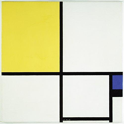 Artland Alte Meister Kunst Wandtattoo Piet Mondrian Bilder Klassische Moderne 70 x 70 cm Komposition mit Blau und Gelb Kunstdruck Klebefolie Gemälde R0IV