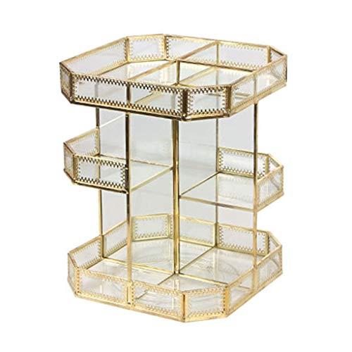 Cosmétique Boîte De Rangement en Verre Rotation Transparent Rétro en Métal Bureau Penderie Table Soins De La Peau Racks Cadeau (Color : Gold, Size : 21.7 * 21.7 * 28.2CM)