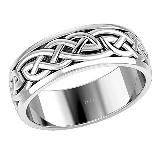 US Jewels And Gems Men's 925 Sterling Silver Irish Celtic Knot Wedding Spinner Ring Band, 13