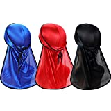 3PCS Premium Soft Men Durag Headwraps with Extra Long Tail and Wide Straps for 360 Waves