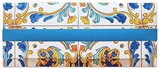 Porta soldi - maiolica - piastrella - cerimonie - busta portasoldi (formato 22 x 9,5 cm) + biglietto d'auguri vuoto all'in...