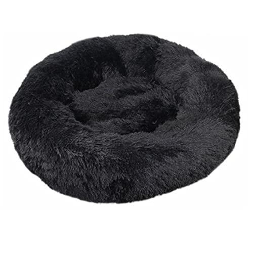Tree-es-Life Suave Perro Gato Cama Redonda de Felpa para Gatos Invierno otoño Camas cálidas para Dormir Gato para Dormir cojín para Mascotas para Mascotas Nido Suministros para Mascotas Negro Mediano