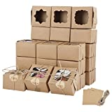 Farielyn-X 81 Packs Brown Bakery Boxes with Window Portable Single Individual Cupcake Boxes 4x4x2.5 Inches Kraft Paper Gift Boxes Holders for Pastries, Small Cakes, Cookies, Cupcakes