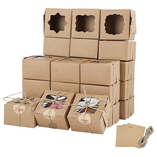Farielyn-X 81 Packs Brown Bakery Boxes with Window Portable Single Individual Cupcake Boxes 4x4x25 Inches Kraft Paper Gift Boxes Holders for Pastries Small Cakes Cookies Cupcakes