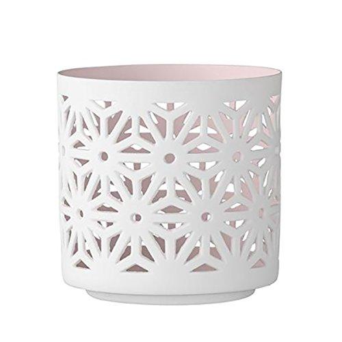 Bloomingville - Teelichthalter, Kerzenhalter - Porzellan - weiß / rosa - 8,8 x 8,8 x 8,8 cm