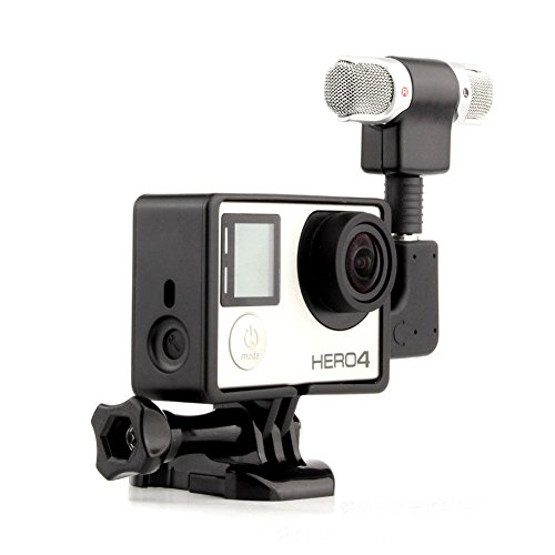 GoPro professionale di registrazione audio microfono stereo esterno con adattatore + supporto cornice per GoPro Hero 3 + 4 Camera