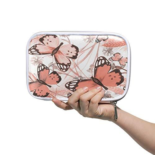 Mr.XZY Bolsa de lápices de acuarela con diseño de mariposa, estuche para niños y niñas, bonito patrón de viaje, bolsa de cosméticos pequeña para pasaporte con cremallera para mujeres 2011854