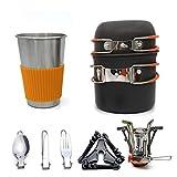 DSGYZQ Camping Kit de Utensilios de Cocina con Estufa Cocina al Aire Libre 8 PCS Establecer sartenes de Campamento para 1 a 3 Personas Viajando Senderismo y Camping,Naranja
