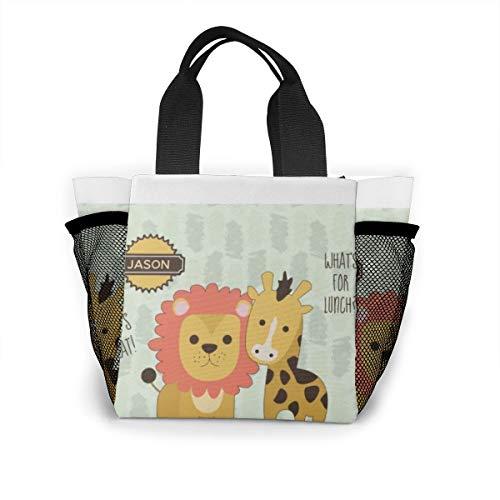 Lunchtasche für Damen, Handtasche, Lunch-Tasche für Arbeit, Picknick oder Reisen – süßer sprechender Löwe und Giraffe