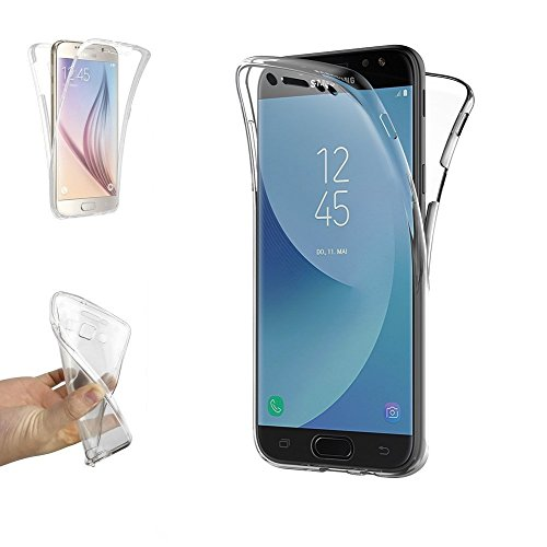 REY Funda Carcasa Gel Transparente Doble 360º para Samsung Galaxy J5 2017, Ultra Fina 0,33mm, Silicona TPU de Alta Resistencia y Flexibilidad