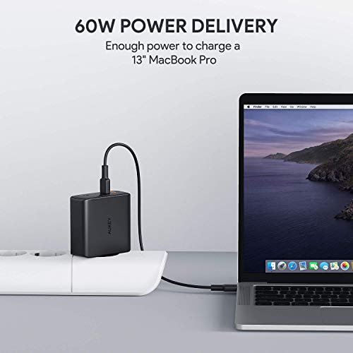 Aukey Usb C Caricatore da Muro 60W, Caricatore Usb C Compower Delivery, Caricatore Usb da Muro Comgan Tech Per Macbook Pro, Iphone 11 /11 Pro / Pro Max, Pixel 3 / 3Xl, Nintendo Switch Ecc