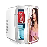 Mini Fridge Portable 8 Liter/10 can, Mirrored Beauty Fridge With LED, Great for Skin Care, Makeup Storage, for Bedroom, Office, Dormitory, Cars (AC/DC)