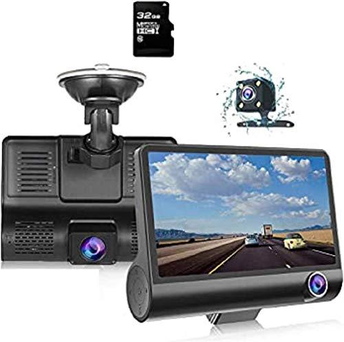 """Telecamera Dash Cam Full HD 1080P,4""""Touchscreen Obiettivo Grandangolare 170° Posteriore Visione Notturna G-Sensor Rilevatore di Movimento Monitor Parcheggio"""