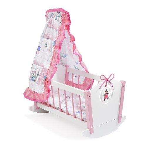 Howa Puppenwiege, Bodenwiege weiß/rosa aus Holz 2300