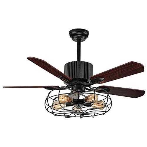 5-flammig, Retro Fan mit Lampe Deckenleuchte Schwarz Industrie Decke Ventilator Lampe mit Metall Käfig Hängeleuchte E27 für Wohnzimmer Schlafzimmer Gästezimmer